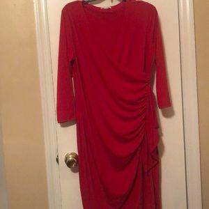RED CALVIN KLEIN WRAP DRESS SIZE 12